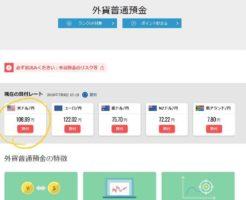 住信SBIネット銀行の外貨普通預金のドル円の箇所