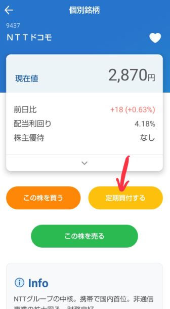 ネオモバのドコモの定期買付するの画面